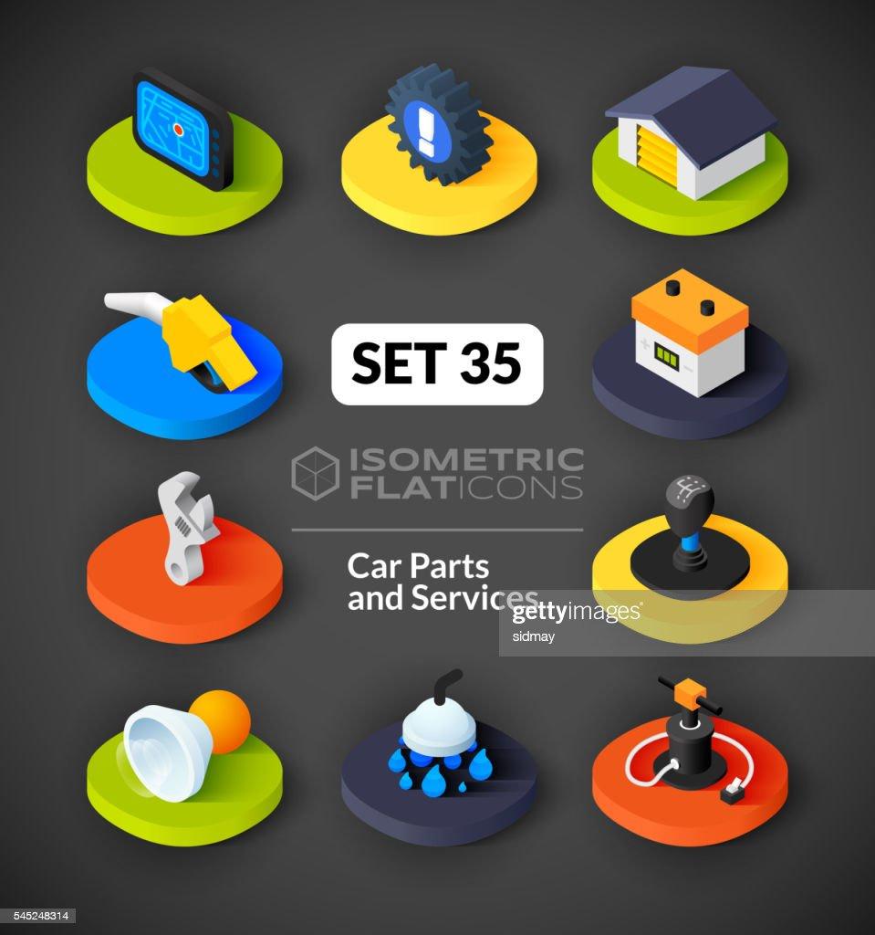 Isometric flat icons set 35