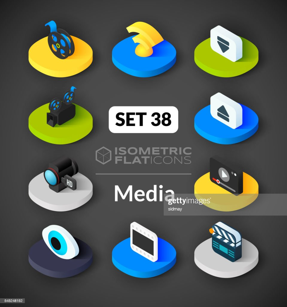 Isometric flat icons set 38