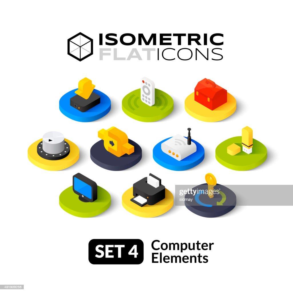 Isometric flat icons set 4