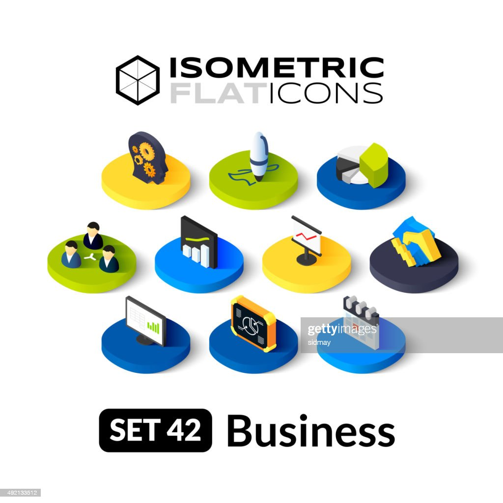Isometric flat icons set 42