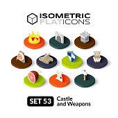 Isometric flat icons set 53