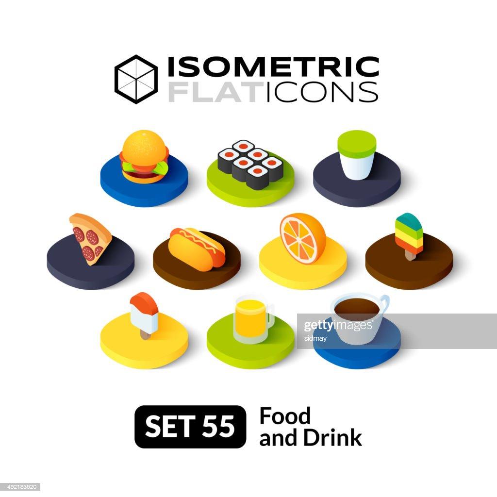 Isometric flat icons set 55