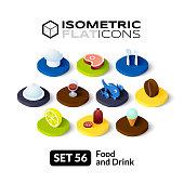 Isometric flat icons set 56