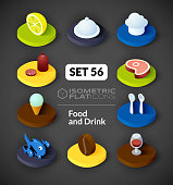 Isometric flat icons set 56