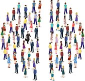 Isometric flat Infographic chart consisting of a crowd of people