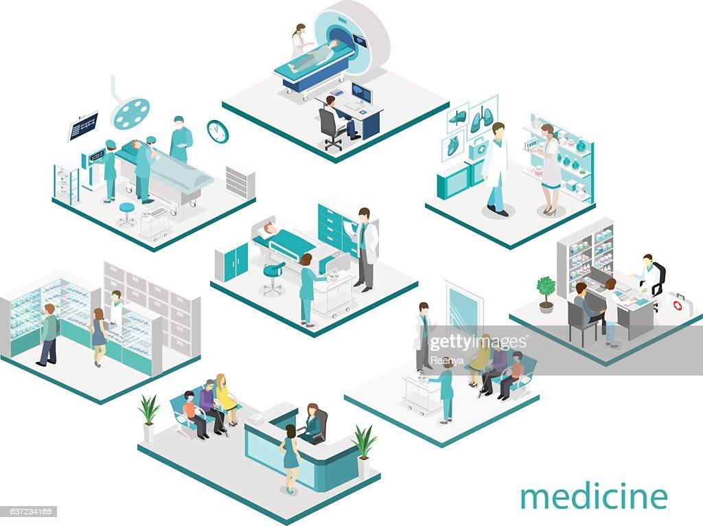 Isometric flat interior of hospital room, pharmacy, doctor's office,