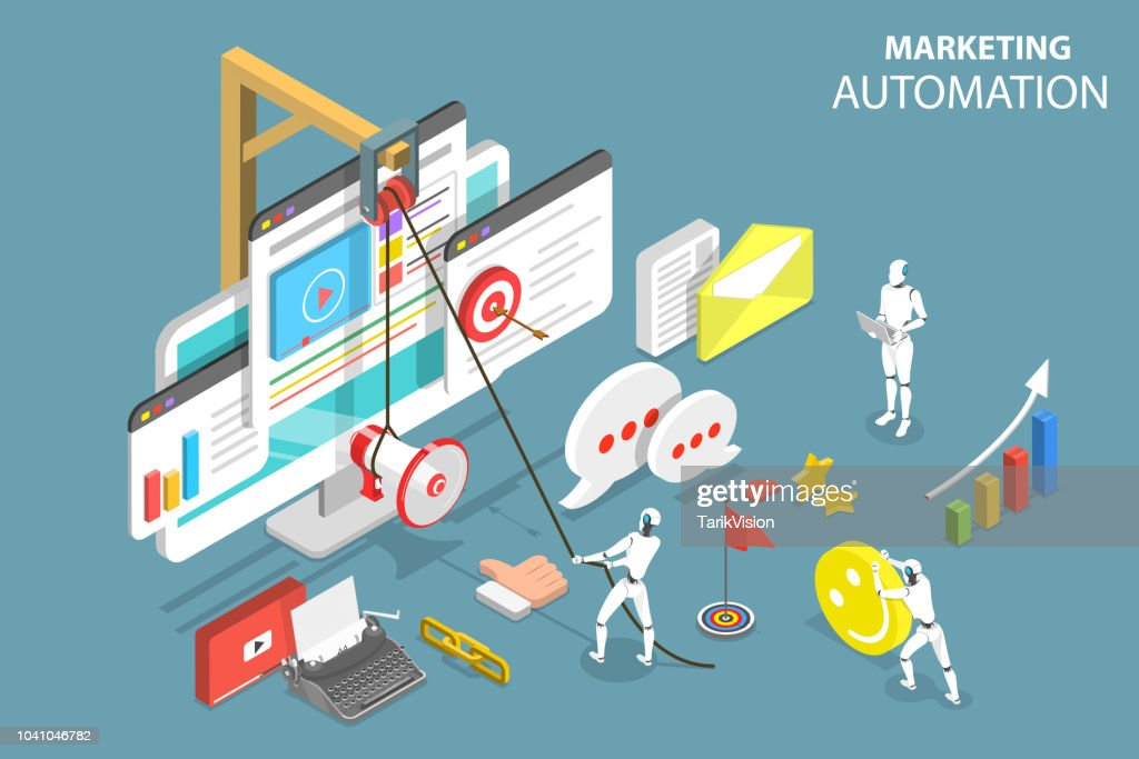 Isometric flat vector concept of digital marketing automation, social media strategy, ai, chatbot. : stock illustration