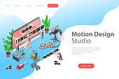 Isometric flat vector concept of motion design studio, video editor app.