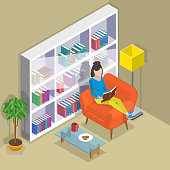 Isometric flat vector concept of reading, favorite book.