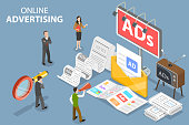 3D Isometric Flat Vector Conceptual Illustration of Offline Advertising.