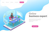 Isometric flat vector landing page template for online, expert, virtual business assistant, investment management, mobile banking, help service.