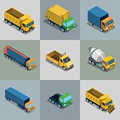 Isometric flat vehicle cargo transport vector illustration set. 3d Isometry City service and specialized transportation collection.