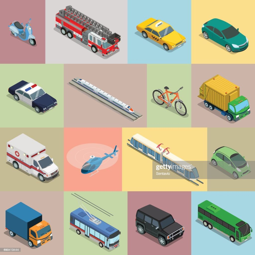 Isometric flat vehicle, railway, flying transport vector illustration set. 3d Isometry City service and specialized transportation collection.