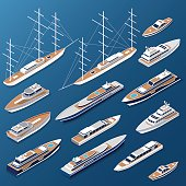Isometric flat yachts and boats vector illustration set. 3d isometry Marine nautical transport collection.