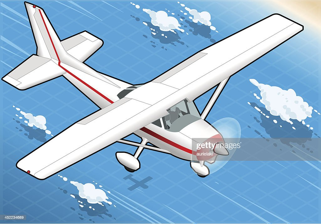 Isometric flying White Plane  in Front View