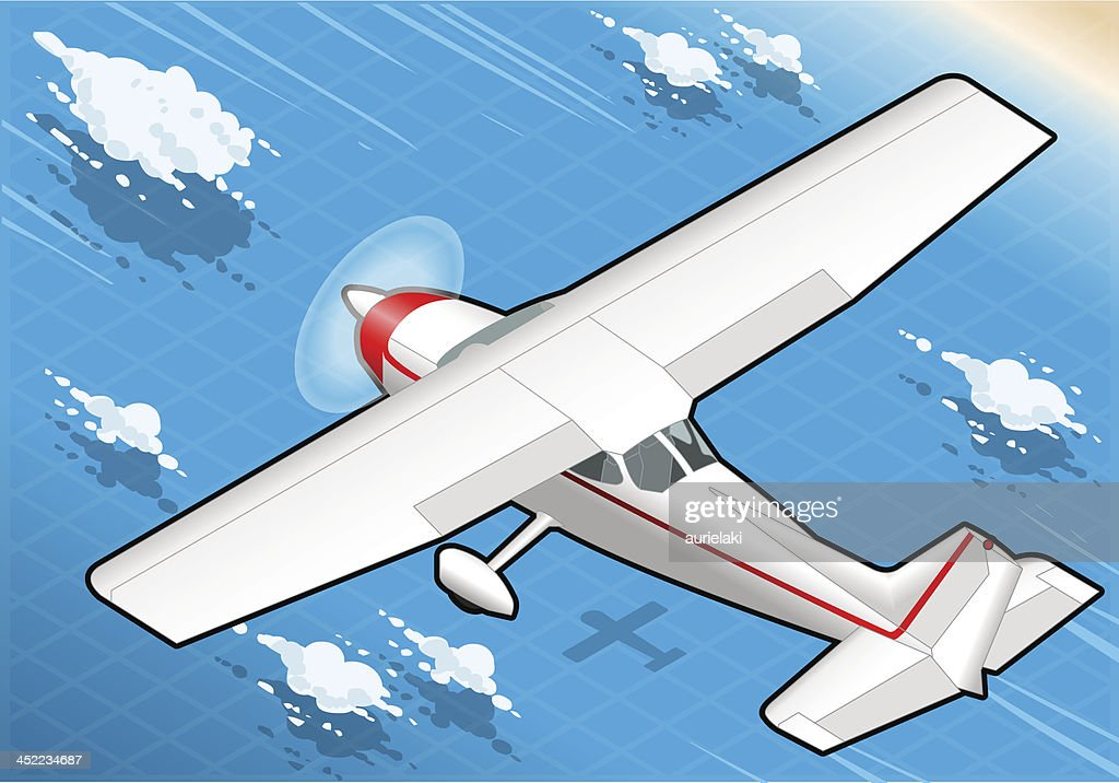 Isometric flying White Plane in Rear View