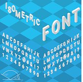 Isometric font alphabet with drop shadow on blue background