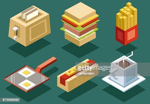Isometric food set (vector)
