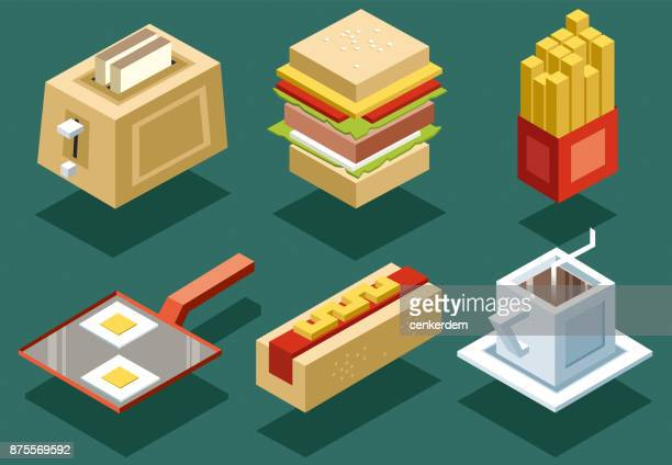 Isometric food set (vector)