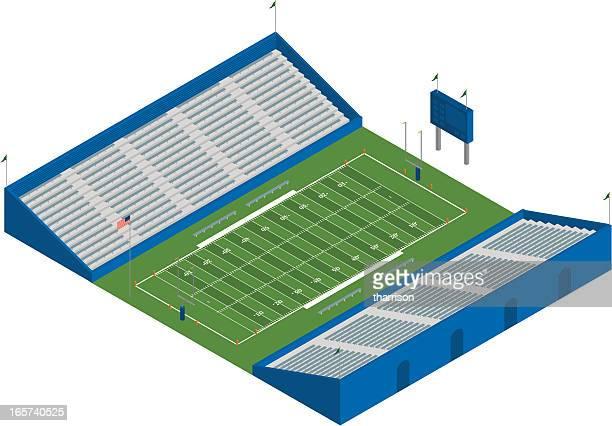 ilustraciones, imágenes clip art, dibujos animados e iconos de stock de isométricos estadio de fútbol americano - gradas