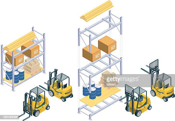 Isometric forklift and warehouse rack
