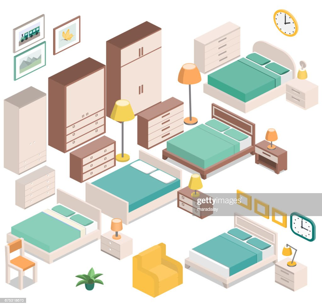 Isometric furniture for bedroom. Vector graphic.