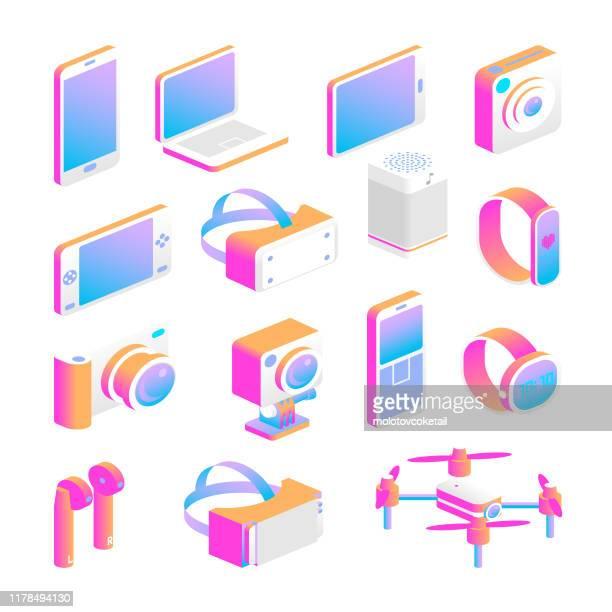 isometric gadget icon set - smart watch stock illustrations