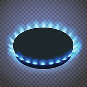 Isometric gas burner or hob on a transparent background.