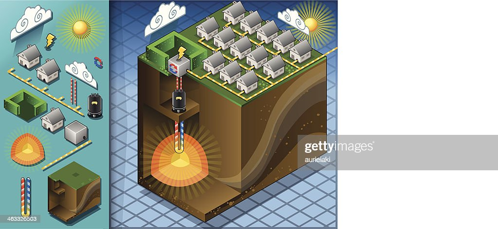 Isometric Geothermal Heat Pump Diagram