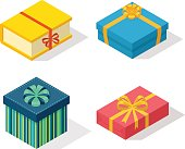 Isometric gift box vector icon isolated