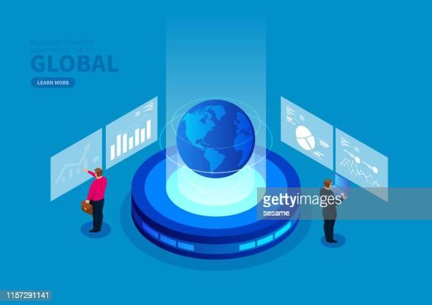 illustrazioni stock, clip art, cartoni animati e icone di tendenza di isometric global business development and data analysis - comunicazione globale