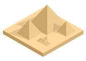 Isometric Great Sphinx including pyramids of Menkaure and Khafre in white background. Giza, Cairo, Egypt. Egyptian pyramids tourism vector concept.