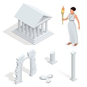 Isometric Greek temple, goddess of beauty Aphrodite