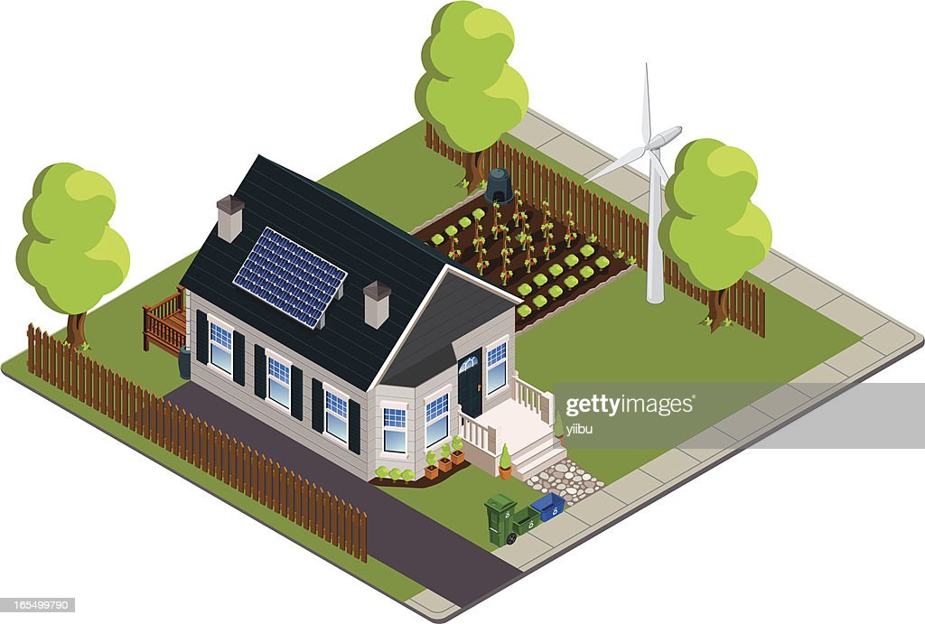 Isometric green or eco-friendly bungalow