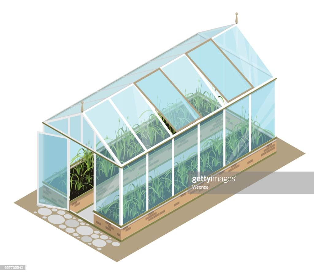 Isometric greenhouse with glass walls, foundations, gable roof, garden bed.