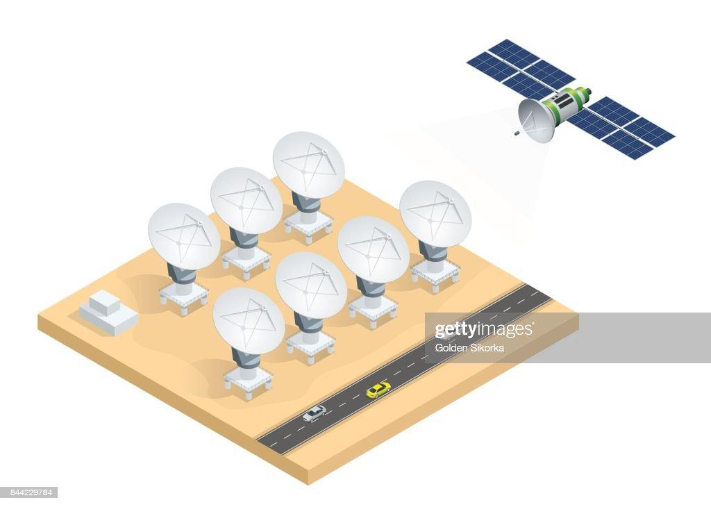 Isometric group of radio telescopes, satellite dish antennas transmission data broadcasting vector illustration isolated on white background