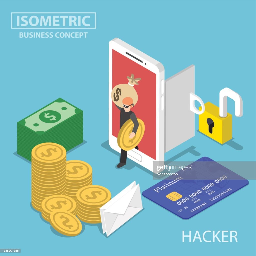 Isometric hacker steal money and data from smartphone