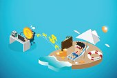 isometric happy businessman and money working, passive income and business concept