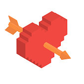 Isometric Heart And Arrow in Vector