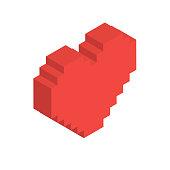 Isometric Heart in Vector