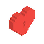 Isometric Heart Lock in Vector
