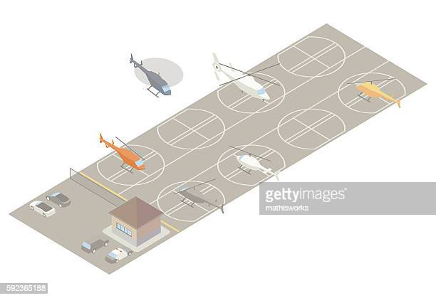 isometric heliport illustration - mathisworks stock-grafiken, -clipart, -cartoons und -symbole