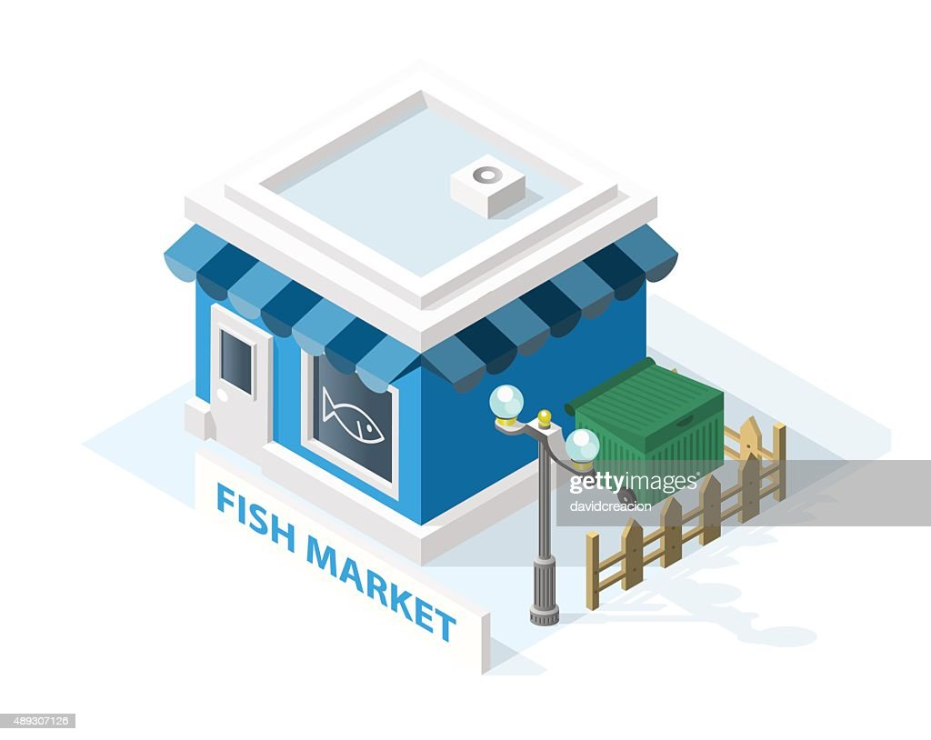 Isometric High Quality City Element . Fish Market