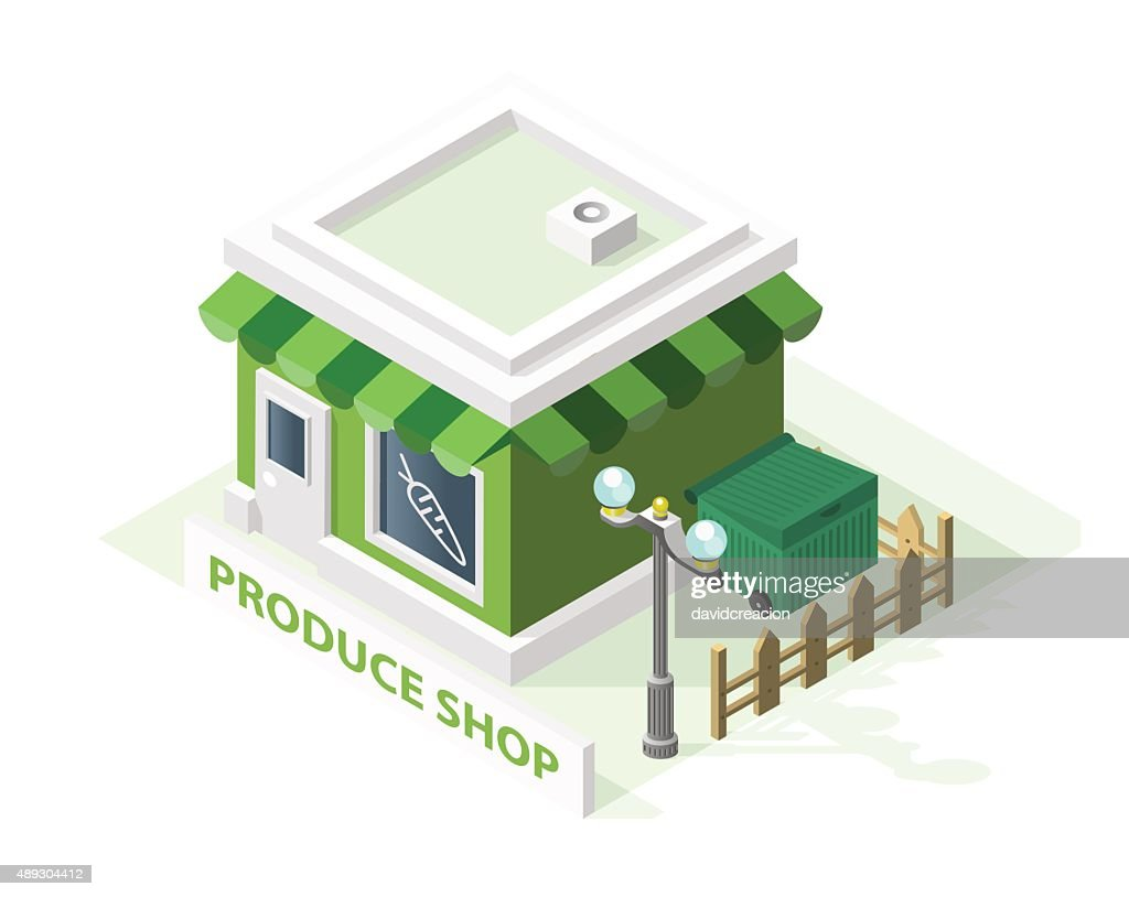 Isometric High Quality City Element. Produce Shop