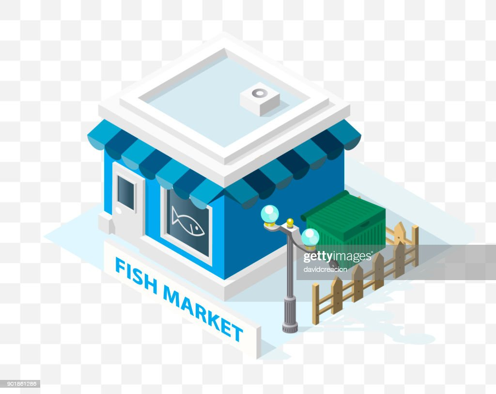 Isometric High Quality City Element with 45 Degrees Shadows on Transparent Background . Fish Market