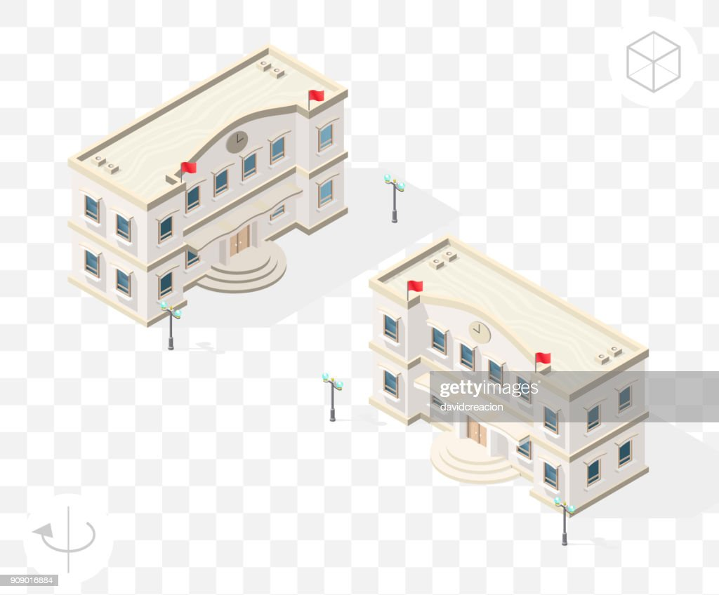 Isometric High Quality City Element with 45 Degrees Shadows on Transparent Background . Town Hall