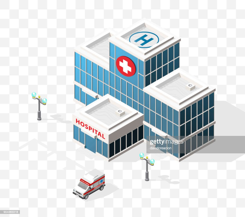 Isometric High Quality City Element with 45 Degrees Shadows on Transparent Background . Hospital