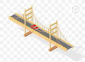 Isometric High Quality City Element with 45 Degrees Shadows on Transparent Background . Bridge