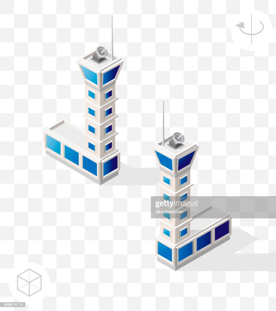 Isometric High Quality City Element with 45 Degrees Shadows on Transparent Background . Flight Control Tower