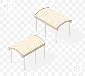 Isometric High Quality City Element with 45 Degrees Shadows on Transparent Background . Pergola